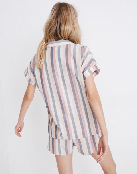 Flannel Bedtime Pajama Top in Lonnie Stripe in sweet dahlia jessie stripe image 3