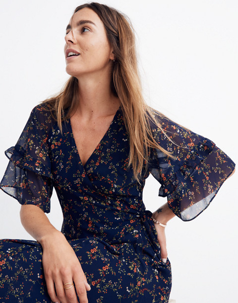 Vervain Ruffle-Sleeve Wrap Dress in Moonless Floral in whisper moonless night image 2