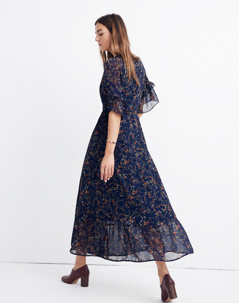 Vervain Ruffle-Sleeve Wrap Dress in Moonless Floral in whisper moonless night image 3