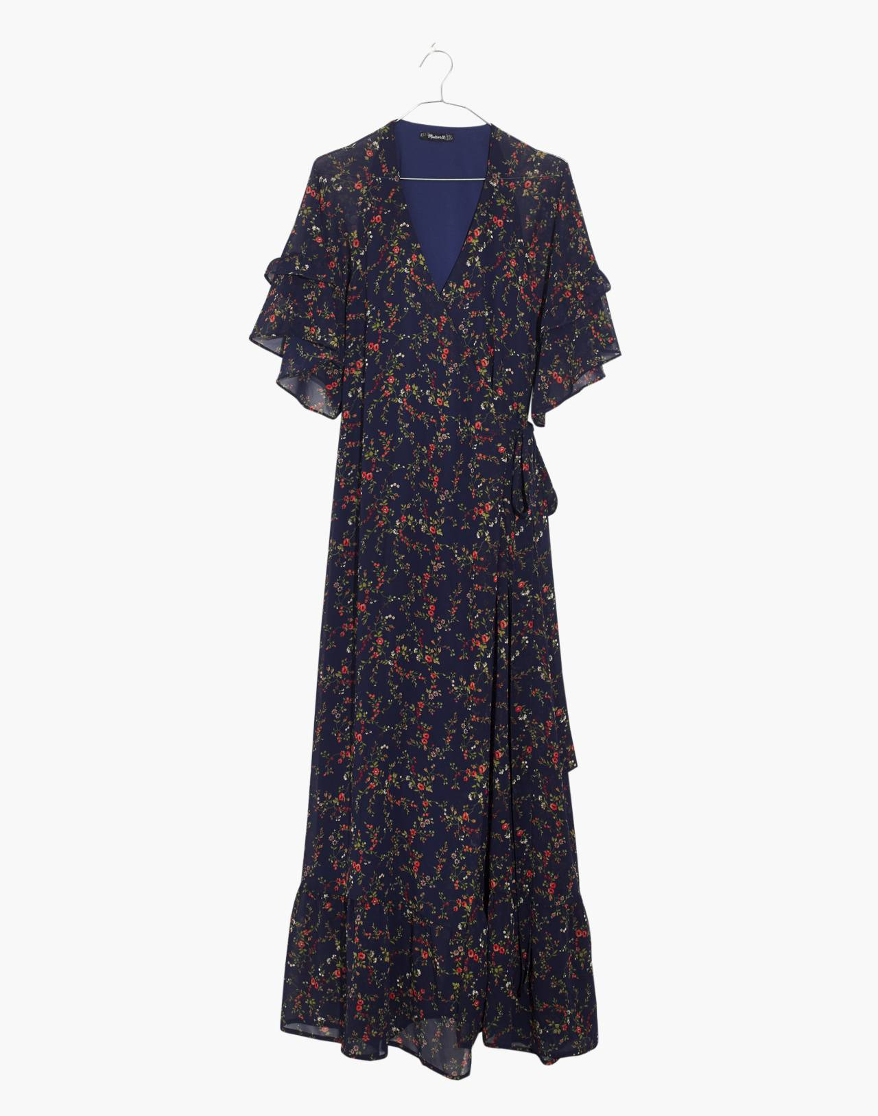 Vervain Ruffle-Sleeve Wrap Dress in Moonless Floral in whisper moonless night image 4