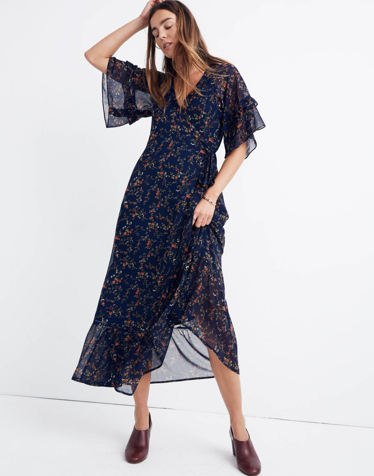 Vervain Ruffle-Sleeve Wrap Dress in Moonless Floral in whisper moonless night image 1