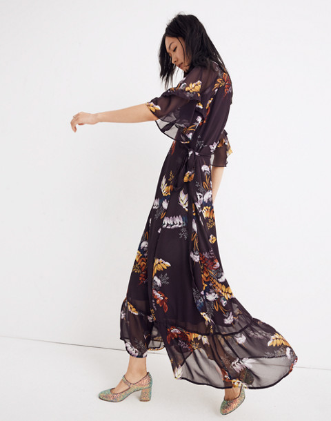 Vervain Ruffle-Sleeve Wrap Dress in Blooming Oasis in harvest dark eggplant image 2