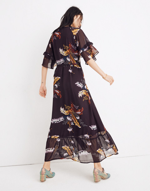 Vervain Ruffle-Sleeve Wrap Dress in Blooming Oasis in harvest dark eggplant image 3