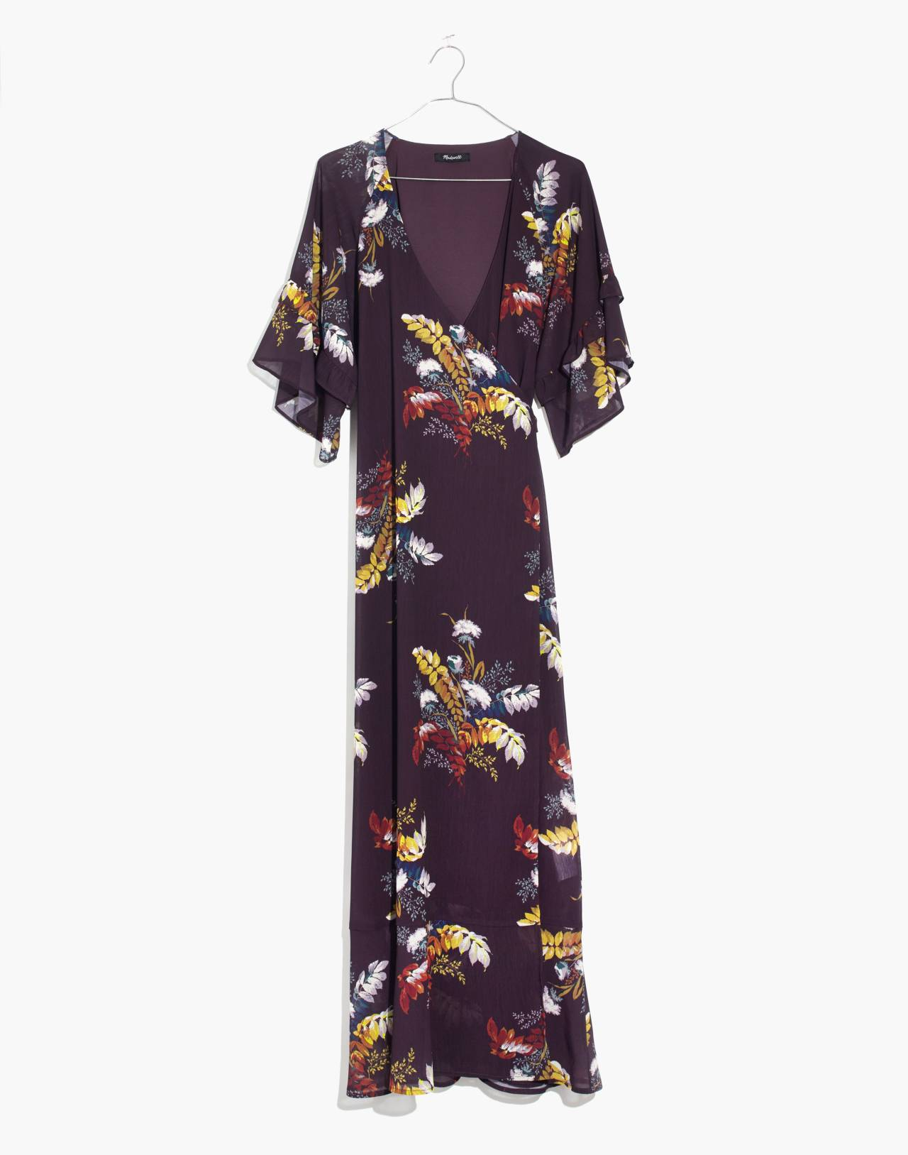 Vervain Ruffle-Sleeve Wrap Dress in Blooming Oasis in harvest dark eggplant image 4