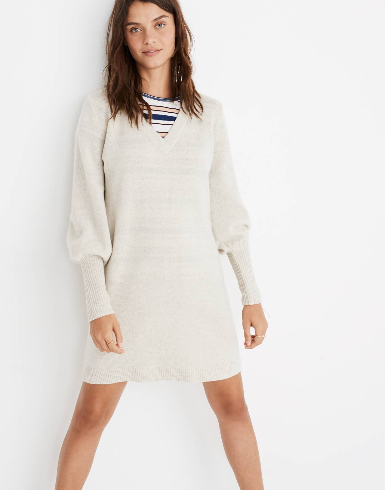 Bubble-Sleeve Sweater-Dress in hthr fog image 2