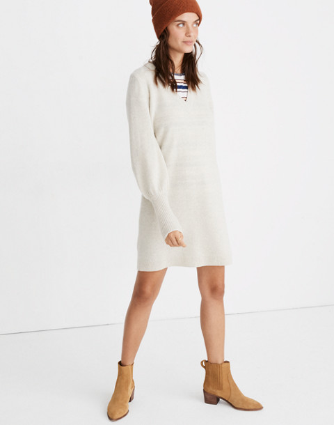 Bubble-Sleeve Sweater-Dress in hthr fog image 1