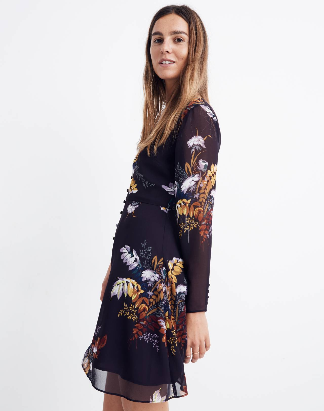 Lilyblossom Button-Front Dress in Blooming Oasis in harvest dark eggplant image 2