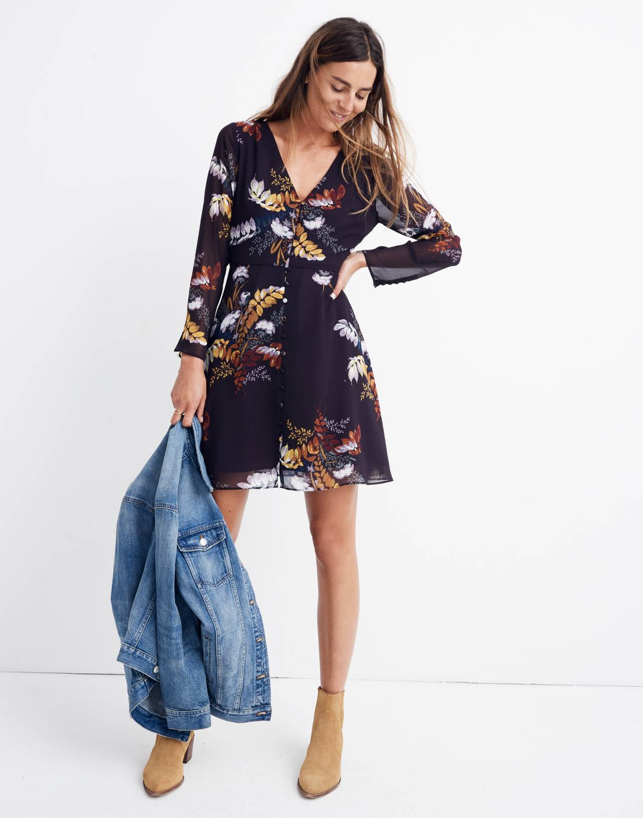 Lilyblossom Button-Front Dress in Blooming Oasis in harvest dark eggplant image 1
