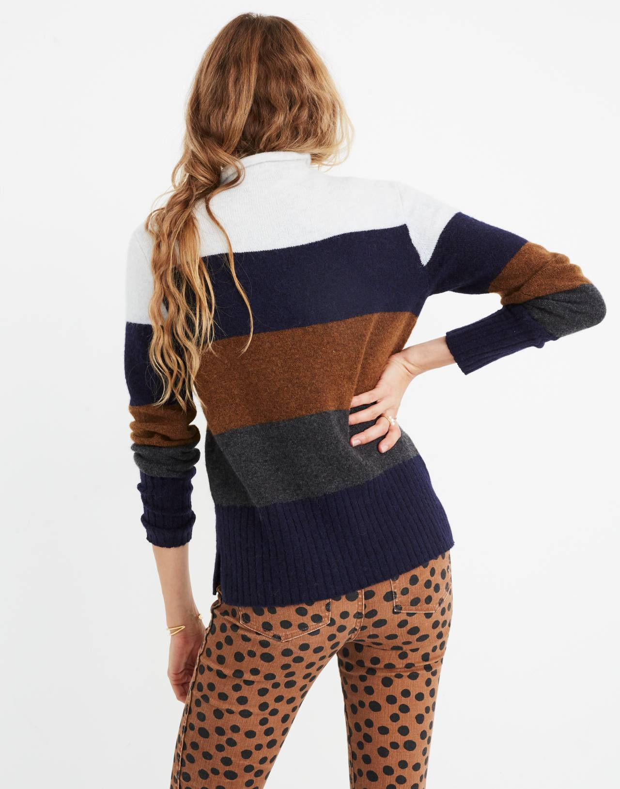 Inland Striped Turtleneck Sweater in Coziest Yarn in heather platinum image 3