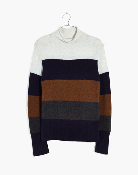 Inland Striped Turtleneck Sweater in Coziest Yarn in heather platinum image 4