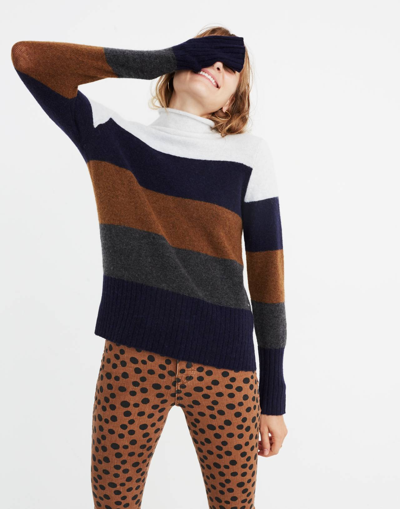 Inland Striped Turtleneck Sweater in Coziest Yarn in heather platinum image 1