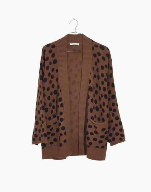 Leopard Dot Cardigan Sweater in heather reindeer image 4