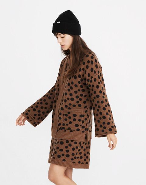 Leopard Dot Cardigan Sweater in heather reindeer image 1