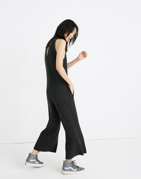 Wide-Leg Sweater-Jumpsuit in hthr charcoal image 2