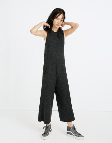 Wide-Leg Sweater-Jumpsuit in hthr charcoal image 1