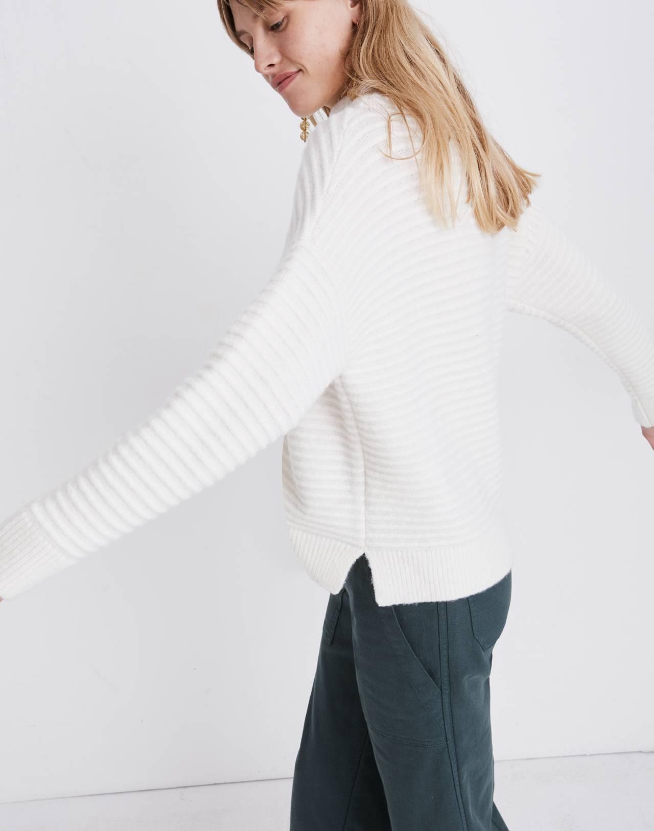 Belmont Mockneck Sweater in Coziest Yarn in antique cream image 2