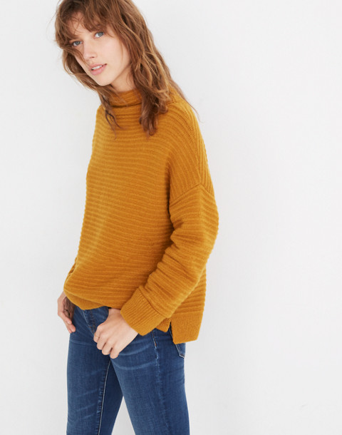 Belmont Mockneck Sweater in Coziest Yarn in golden harvest image 2