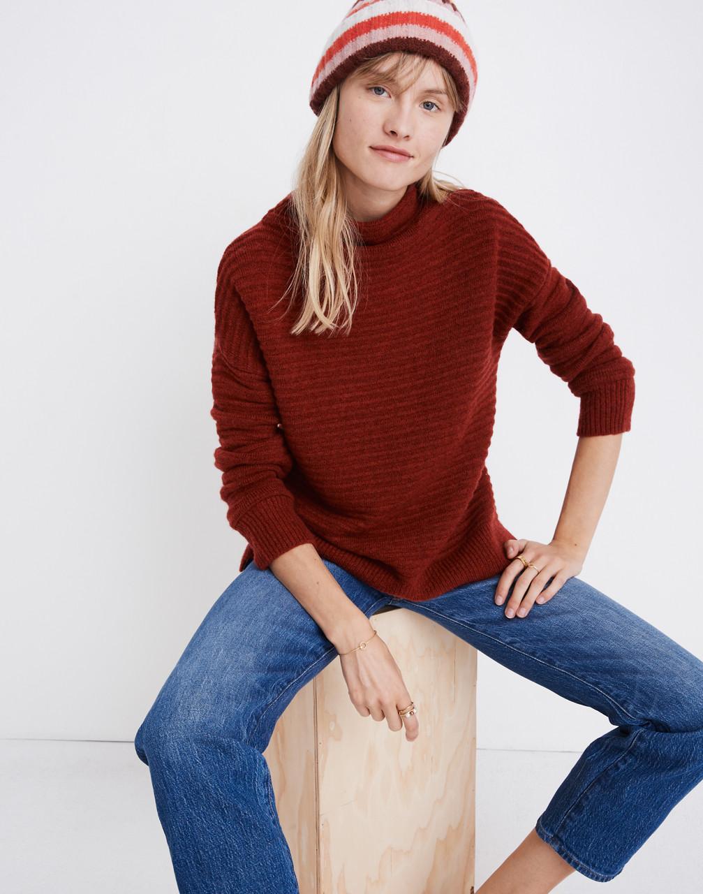 Belmont Mockneck Sweater in Coziest Yarn in heather carmine image 1
