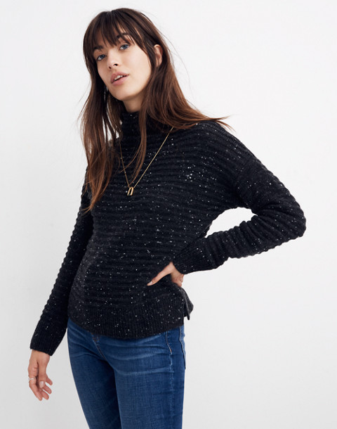 Donegal Belmont Mockneck Sweater in Coziest Yarn in donegal storm image 2