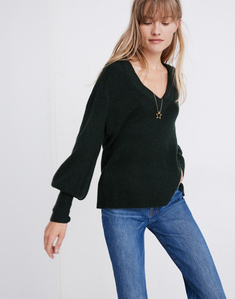 Dashwood V-Neck Sweater in Coziest Yarn in heather forest image 1