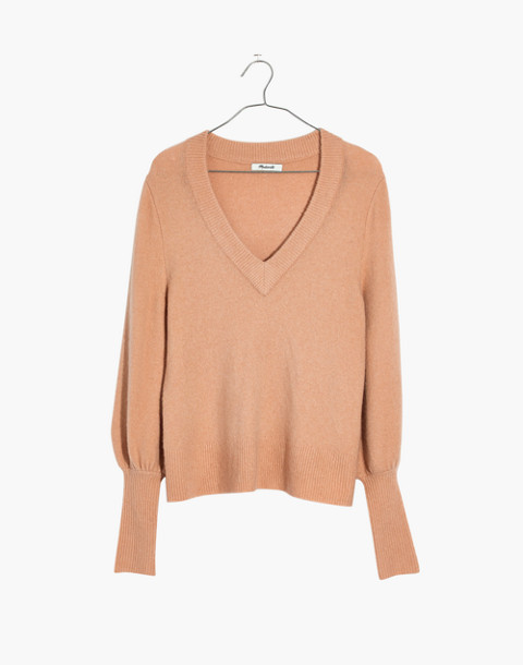Dashwood V-Neck Sweater in Coziest Yarn in dusty shell image 4