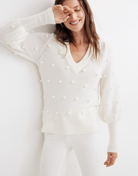 Bobble Dashwood V-Neck Sweater in Coziest Yarn in bright ivory image 2