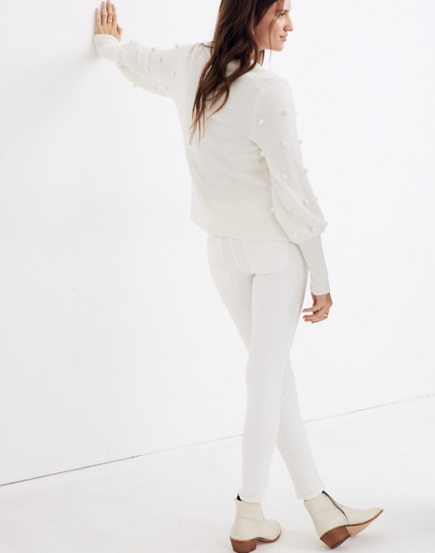 Bobble Dashwood V-Neck Sweater in Coziest Yarn in bright ivory image 3