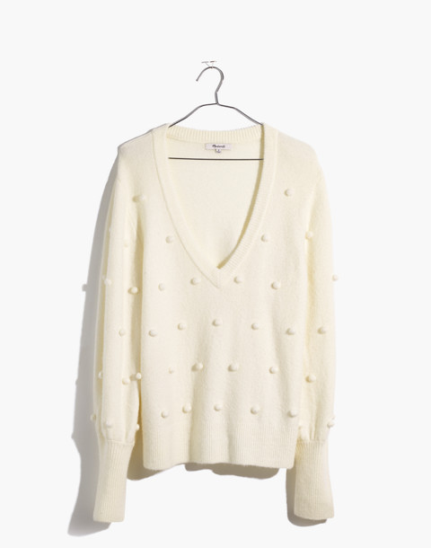 Bobble Dashwood V-Neck Sweater in Coziest Yarn in bright ivory image 4