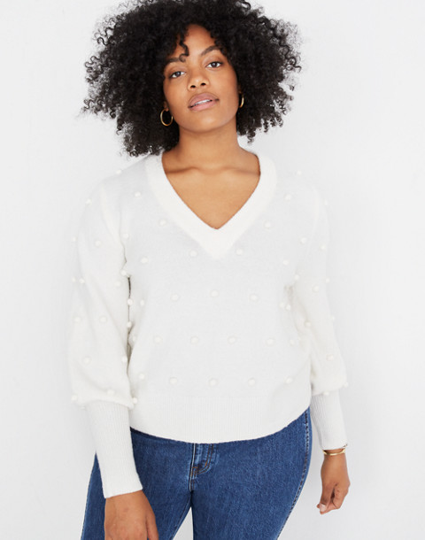 Bobble Dashwood V-Neck Sweater in Coziest Yarn in bright ivory image 1