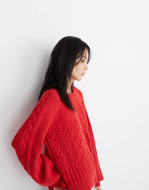 Copenhagen Cable Sweater in enamel red image 2
