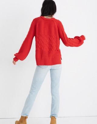 Copenhagen Cable Sweater in enamel red image 3