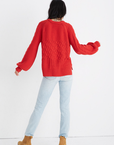 Copenhagen Cable Sweater in enamel red image 3