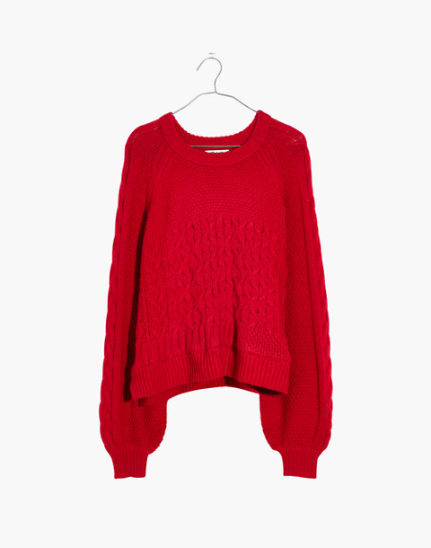Copenhagen Cable Sweater in enamel red image 4