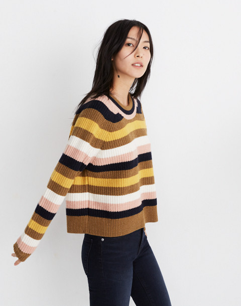 Striped Tilden Pullover Sweater in heather oak image 2