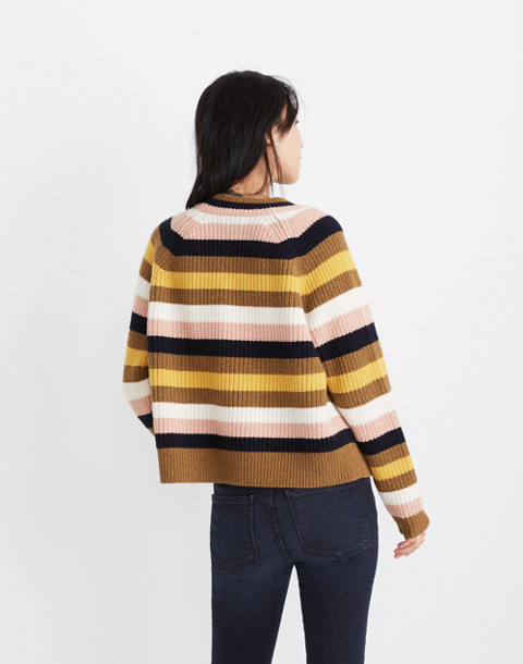 Striped Tilden Pullover Sweater in heather oak image 3