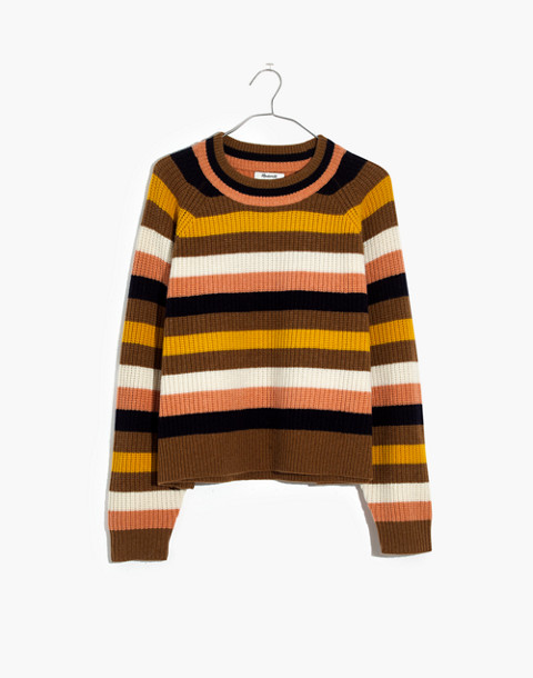 Striped Tilden Pullover Sweater in heather oak image 4