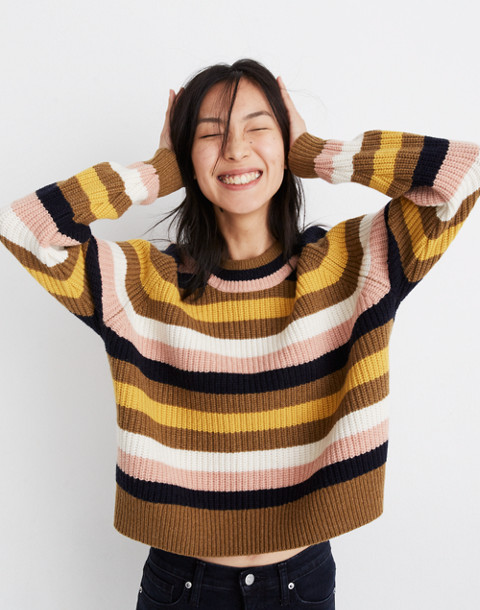 Striped Tilden Pullover Sweater in heather oak image 1