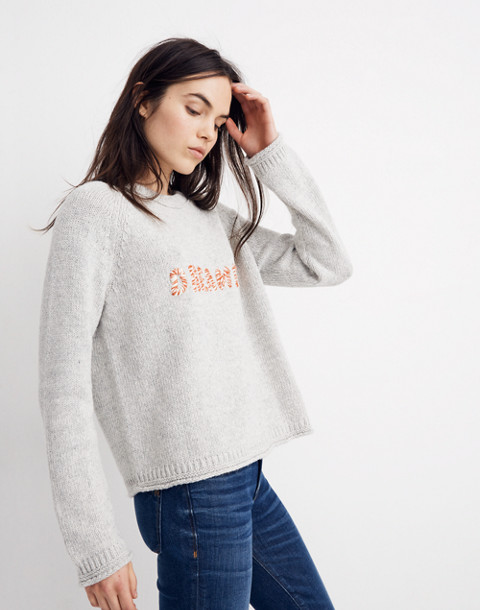 Dreamer Embroidered Keaton Pullover Sweater in heather pebble image 2