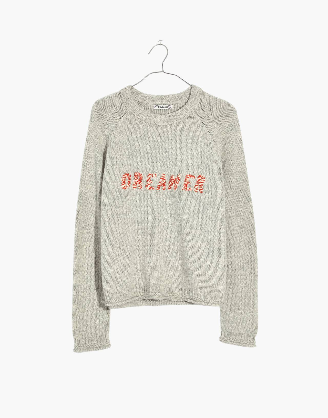 Dreamer Embroidered Keaton Pullover Sweater in heather pebble image 4