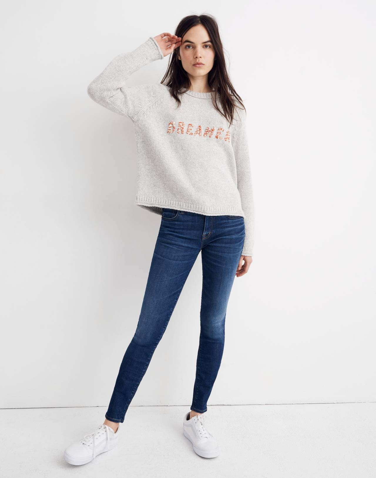 Dreamer Embroidered Keaton Pullover Sweater in heather pebble image 1