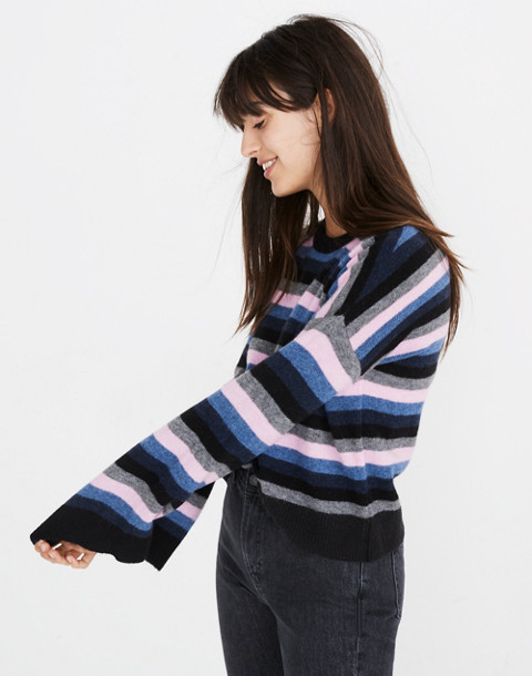 Cardiff Striped Crewneck Sweater in Coziest Yarn in true black image 2