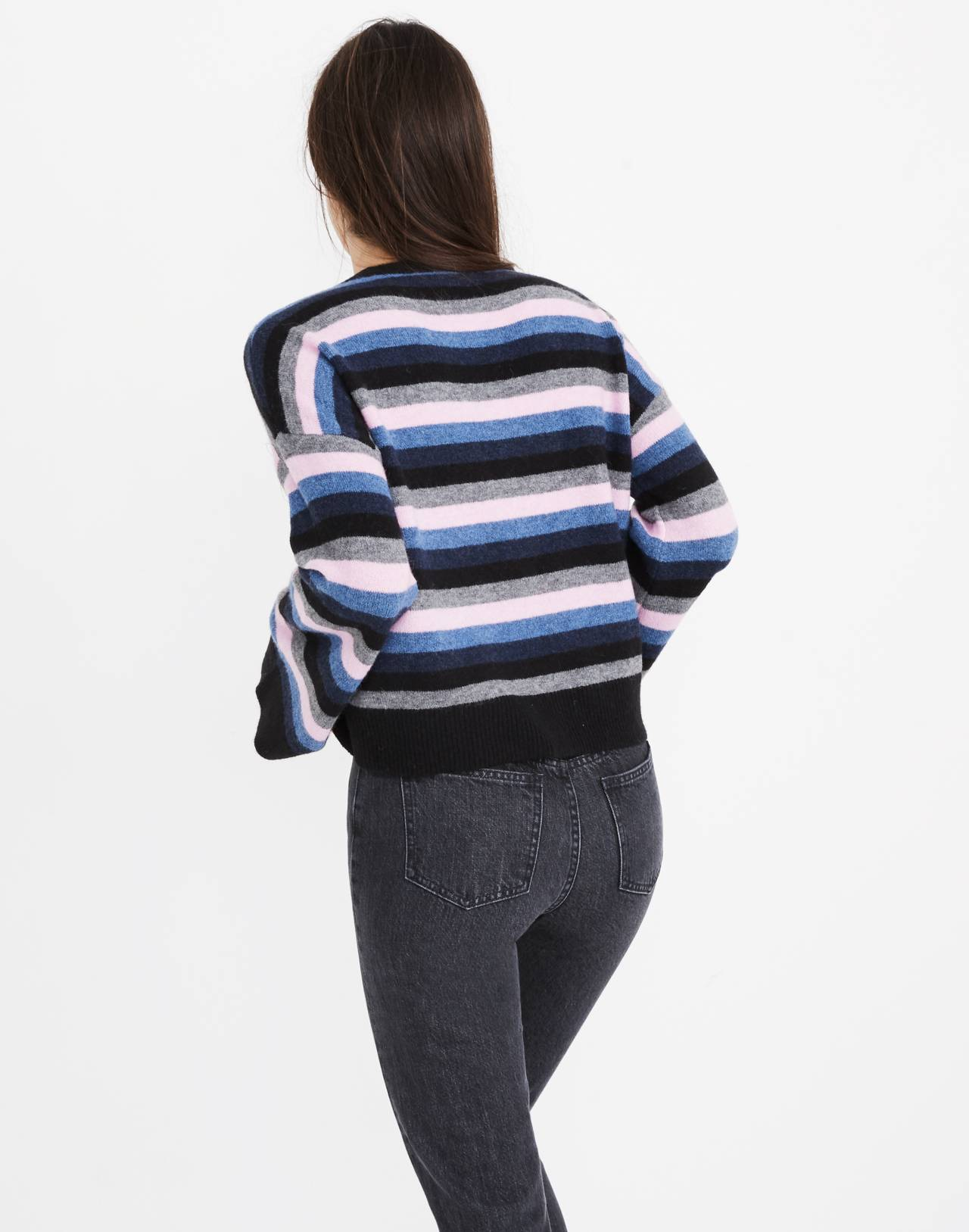 Cardiff Striped Crewneck Sweater in Coziest Yarn in true black image 3