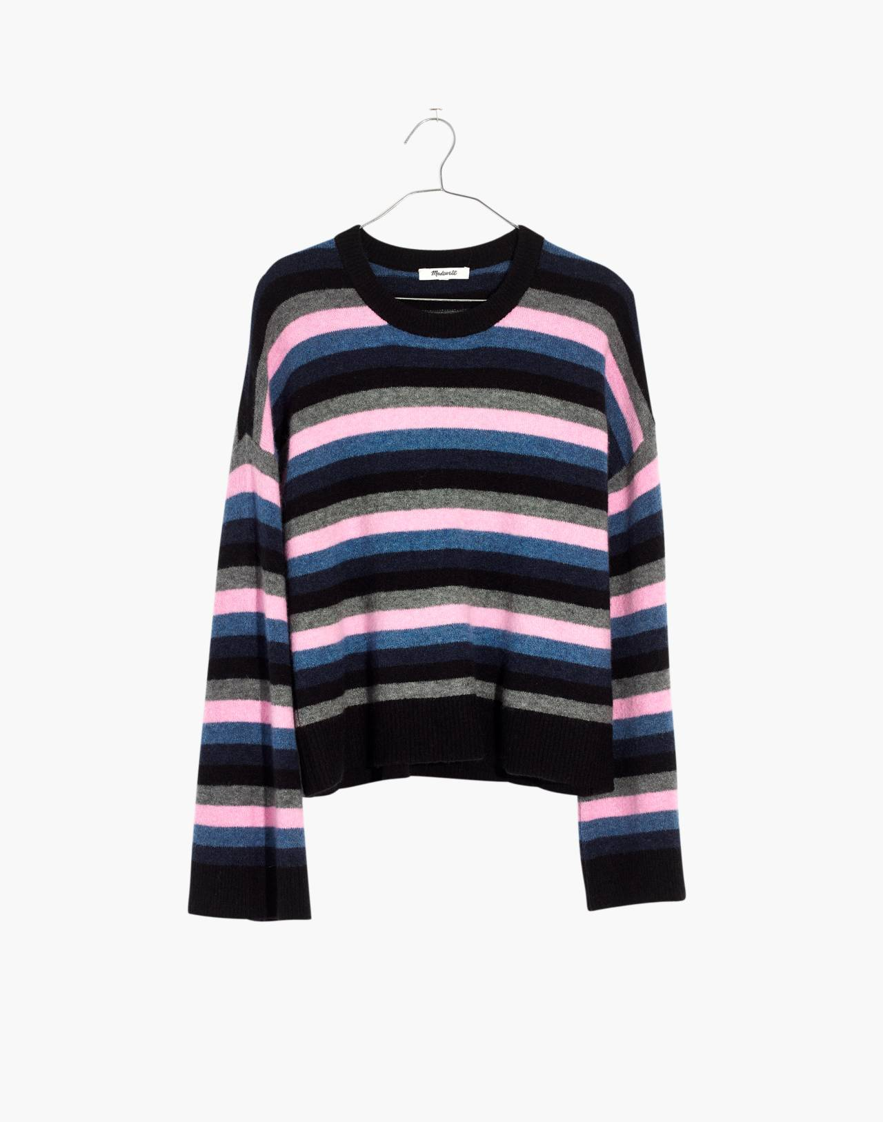 Cardiff Striped Crewneck Sweater in Coziest Yarn in true black image 4