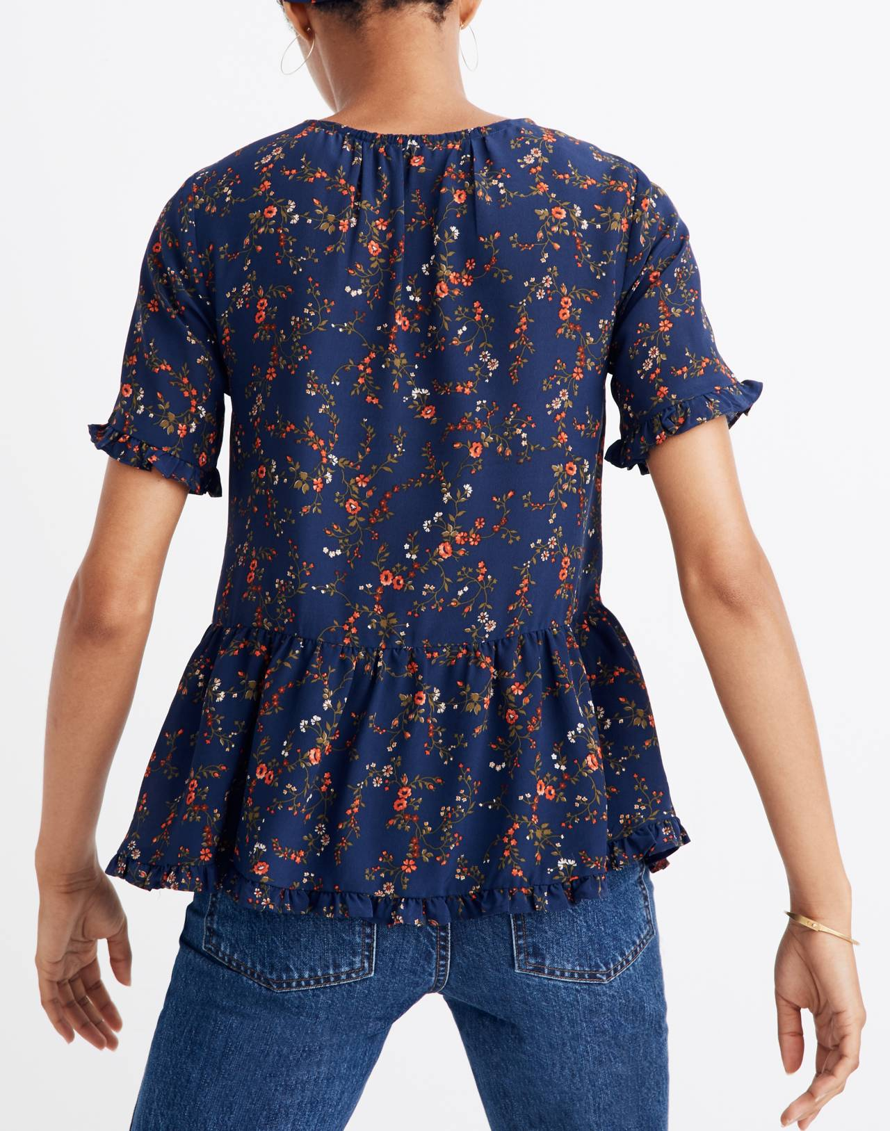 Silk Stanza Ruffle-Hem Top in Moonless Floral in whisper moonless night image 2