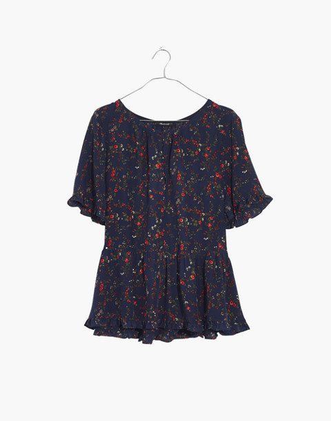 Silk Stanza Ruffle-Hem Top in Moonless Floral in whisper moonless night image 4