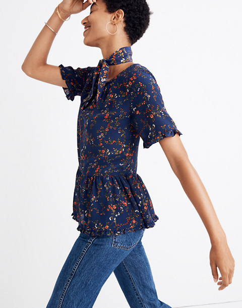 Silk Stanza Ruffle-Hem Top in Moonless Floral in whisper moonless night image 1