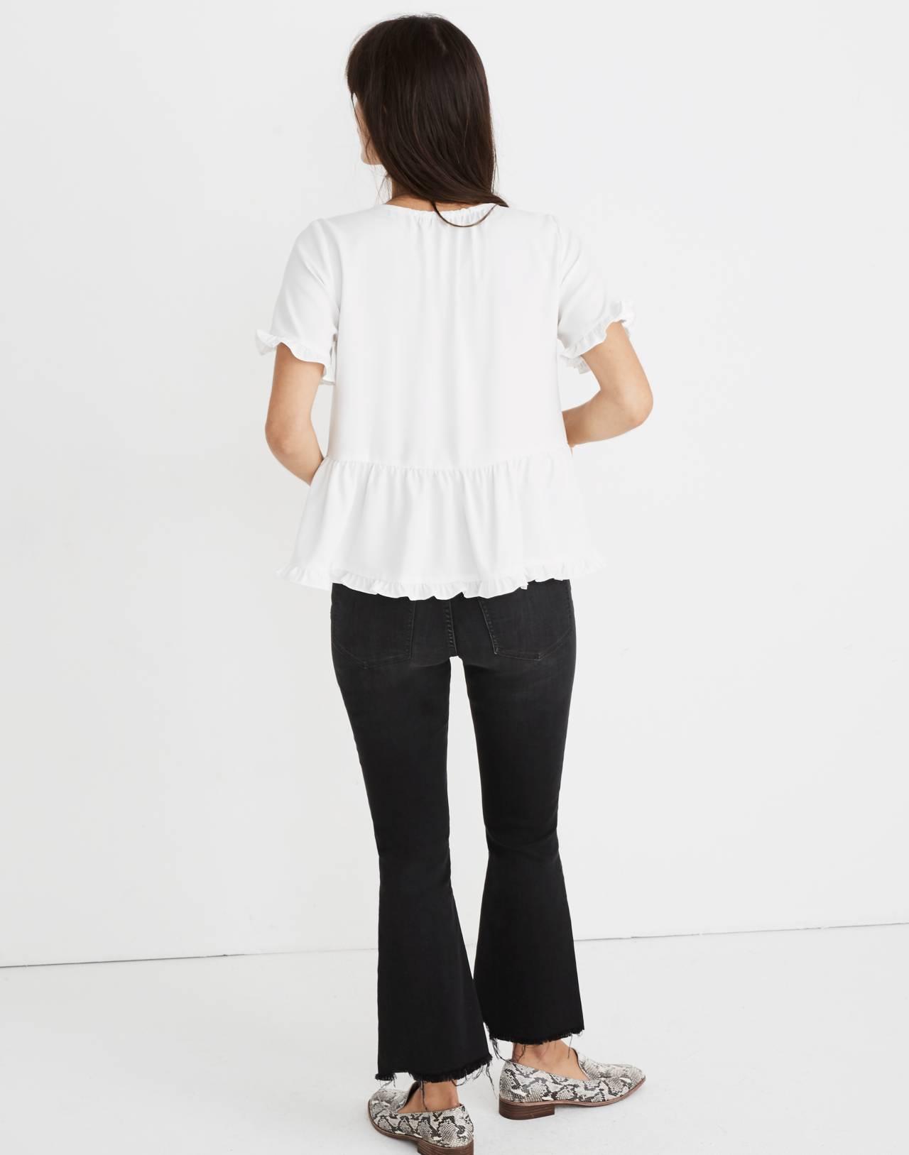 Stanza Ruffle-Hem Top in white nappa image 2