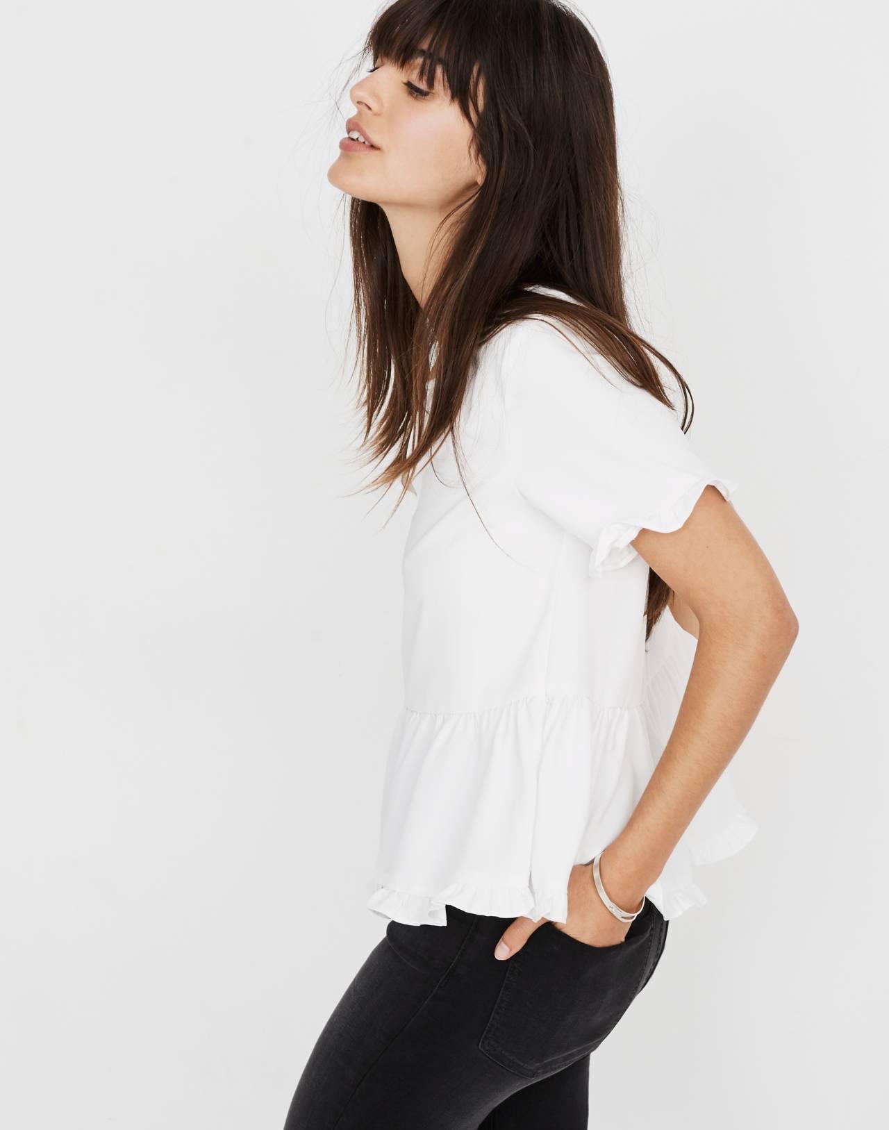 Stanza Ruffle-Hem Top in white nappa image 3