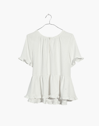 Stanza Ruffle-Hem Top in white nappa image 4