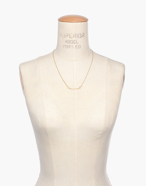 Faux-Pearl Winky Necklace in vintage gold image 3